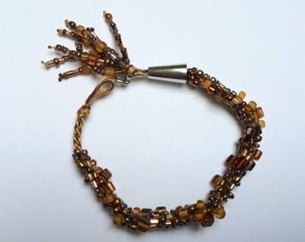 Beaded Kumihimo Bracelet- brown chunky mix