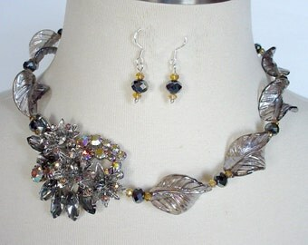 Charcoal Gray Statement Necklace, Cocktail Necklace, Repurposed Rhinestone Brooch, Asymmetrical. Mother Of Bride/Groom Wedding Jewelry