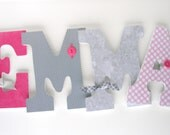 Wooden Nursery Letters - Pink and Gray - Custom Letter Set for Girl Room