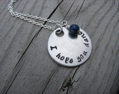 "Inspiration Necklace- ""I hope you dance"" with an accent bead in your choice of colors- Hand-Stamped Jewelry"