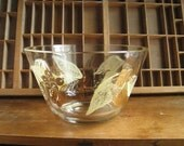 Vintage Glass Serving Bowl 1960s Punch Bowl with Gold Leaves Hollywood Regency Decor