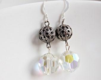 Upcycled Earrings Vintage Crystal Earrings Silver Filigree Glass Drop Earrings Repurposed Jewelry