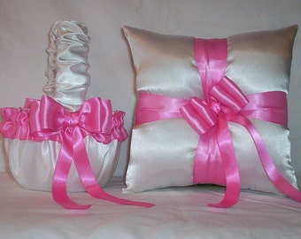 White Satin With Hot Pink Ribbon Trim Flower Girl Basket And Ring Bearer Pillow