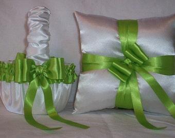 White Satin With Apple Green (Lime) Ribbon Trim Flower Girl Basket And Ring Bearer Pillow Set 2