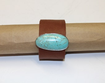 Sky Blue Turquoise leather cuff