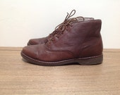Size 6 M US Vintage Brown Leather Ankle Boots, By Rockport