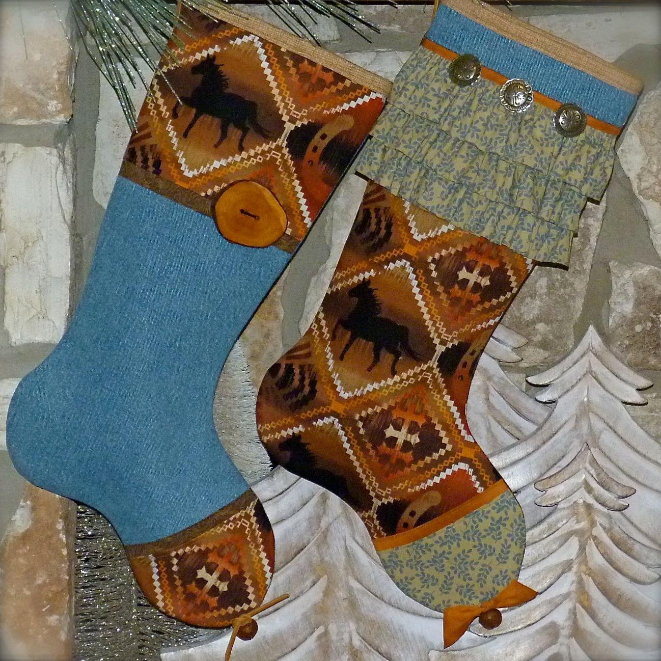 His And Hers Christmas Stockings Cowboy Christmas
