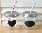 Plastic Mason Jars, Mason Jar Lids with Straw Hole, Straw Lids, Kids size, Kids Party Cups, 8oz Mason Jars, Rustic, Favors, Table Setting