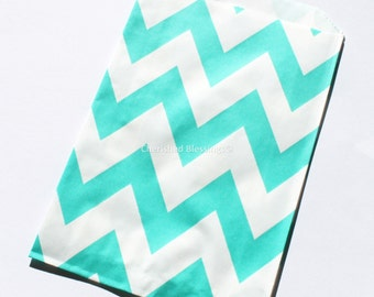 Chevron Favor Bags 20 Aqua Green Wedding Candy Buffet Baby Shower Paper Goods Favors Kids Birthday Party Carnival Popcorn w/ straw flags