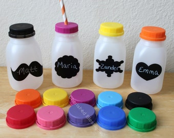 Plastic Milk Bottles Plastic Milk Containers With Colored Lids With or Without Straw Holes Harvest Party Labels Kids Party
