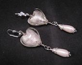 Reclaimed Vintage Earrings, Bridal Earrings, Glass Heart Earrings, Pearl Teardrops, Under 25 - Frozen Heart