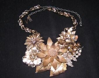 Vintage Enamel Flower Statement Necklace Assemblage, Gold, Pearl, AB Rhinestones, Wedding, Bride, Jennifer Jones, Flower Power Collage