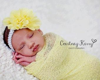 Newborn headbands Baby headband Adult headband Child headband Baby hairbow Photo prop yellow headband Teen headband flower headband