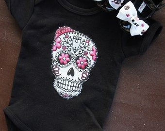 Olivia Paige - Rockabilly baby punk rock sugar skull skeleton bodysuit