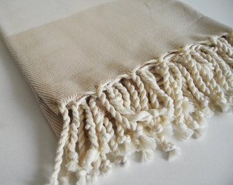 Shipping with FedEx - NEW Color Bathstyle Turkish BATH Towel Peshtemal - SOFT - Beige - Highly Water Absorbent