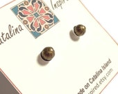 Vintage Look, Simple Antiqued Brass, Ball Post Earrings With Sterling Silver Post
