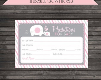 Elephant Baby Shower Prediction Card Printable Pink and Gray - Instant Download - Baby Predictions - Girl Baby Shower Game - Guessing Game