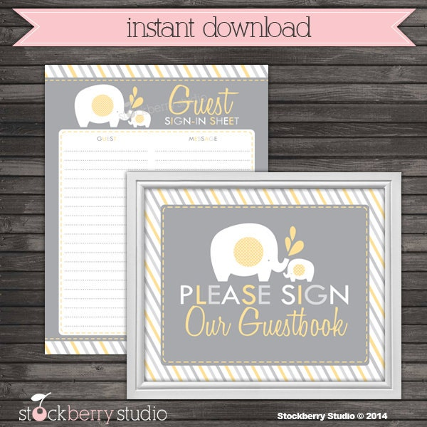 elephant guest book sign in baby shower printable instant