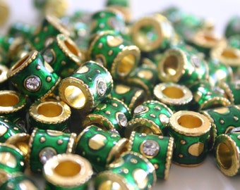 SALE Rare Green Meenakari Beads - 10 mm Floral Indian Enamel Cloisonne/Meenakari tube beads with rhinestone (4)