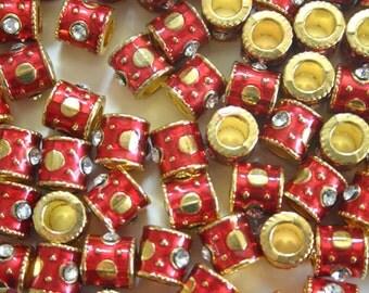 Meenakari Beads Sampler - 10 mm RED and GREEN Indian Enamel Cloisonne/Meenakari tube beads with rhinestone (8)