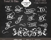 Chalkboard Wedding Typography Clip art clipart digital scrapbooking wedding invitation- Commercial and personal use - CA246