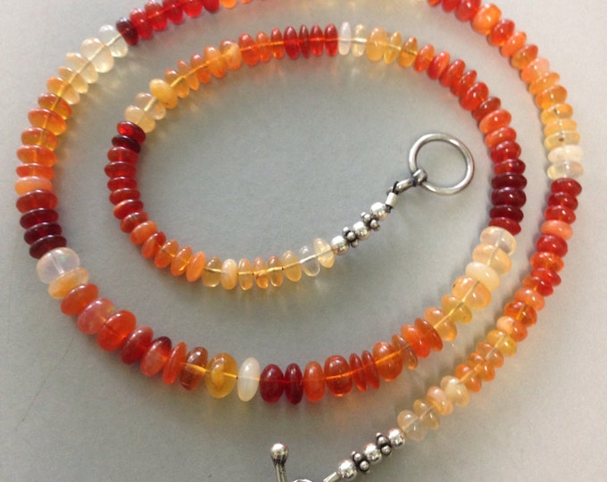 Fire Opal Sterling Silver Necklace - Lovely Smooth Rondell  Beads 18 inches of juicy fiery orange opals!