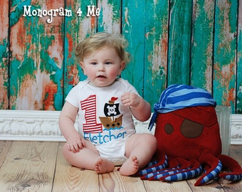 Boys 1st Birthday Pirate Shirt, Baby Boy Pirate Ship, Bodysuit, Snapsuit