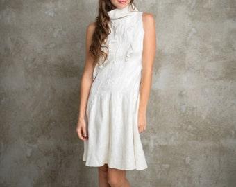 Short Wedding Dress, White Felted Dress, Turtleneck Dress, Ruffle Dress, Summer Wedding Dress, Pleated Dress, Midi Dress, Sleeveless Dress