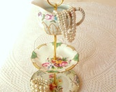 SALE Alice Feels Bright, 3 Tier Floral Jewelry Stand Vintage China Plate Display Mini Tea Tray for Cupcakes, Cookies, Candy - FREE SHIPPING
