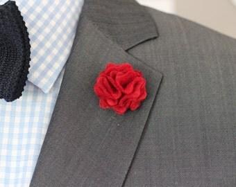 Burgundy red Wool felt lapel pin, flower pin, mens boutonniere, lapel flower