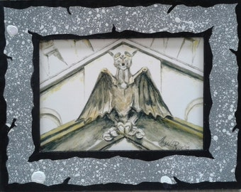 Oakland Gargoyle Print with Hand Painted Cardboard Mat SMALL VERSION