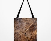 tote bag - photograph - knock on wood - brown - tree - shopping - nature - 16x16