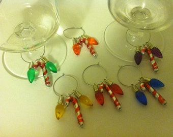 Wine Charms, Urban Chic, Stem Ware charms, wine glass decor, wine, stemware, set of 6, Holidays, Christmas