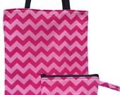 Chevron pink.  Matching set Reversible tote bag and makeup bag