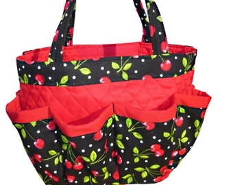 Cherry Bingo Bag // Craft Organizer // Makeup Organizer // Caddy // Teacher Tote // Nurse Tote