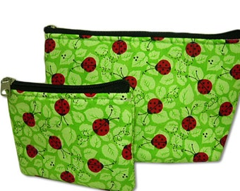 Ladybugs in Green Makeup Bag and Coin Bag Set