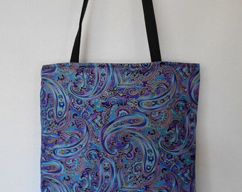 Purple Paisley with Goldleaf Reversible Tote Bag
