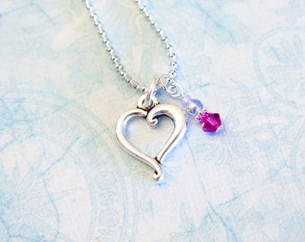 Heart Pendant Necklace - Silver Heart Charm with Swarovski Crystal Dangle