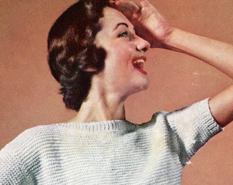 Ladies' Retro 1960s Garter Stitch Pullover Blouse with Short Sleeves - PDF KNITTING PATTERN