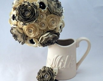 Champagne, Ivory and Black Damask Paper Flower Wedding Bouquet