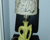 Mid Century Modern Bradley Gonder Chartreuse Lamp with Fiberglass Shade Eames Era