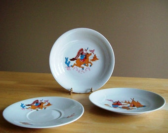 Vintage Childs Bowl/Plate/Saucer by Monopoli Porcellana Italiana with Native Indian Scenes