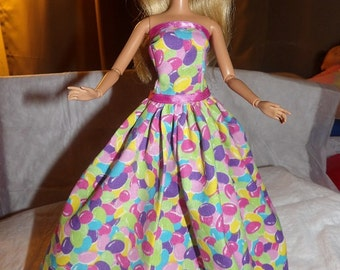 Colorful jelly bean print formal dress for Fashion Dolls - ed558