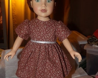 Chocolate brown and white Calico floral full dress for 18 inch Dolls - ag231