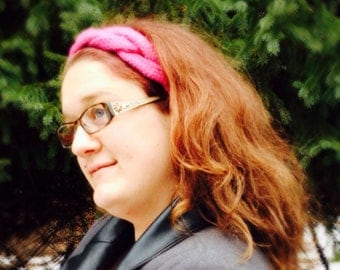 CLEARANCE Hand Knit Braided Headband Ear warmer, Hot Pink, extra large, adult, free shipping in the United States