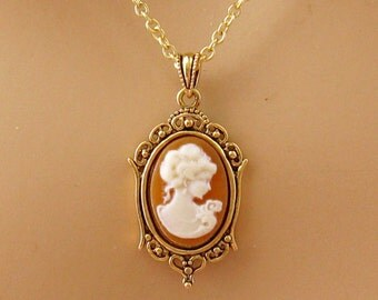 Small Caramel Cameo: Victorian Woman Peach Cameo Necklace, Antiqued Gold, Vintage Inspired Romantic Victorian Jewelry, Peach Cameo Necklace