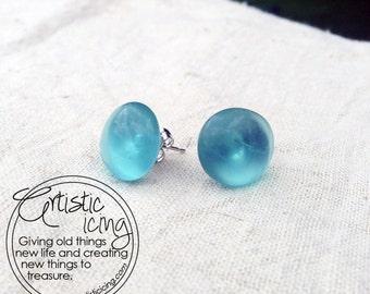 Vintage Aqua Ball Mason Jar Glass Post Earrings