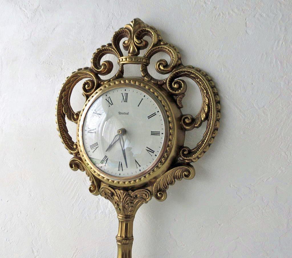 Vintage Wall Clock Key Shaped Clock By United Clock 1960s