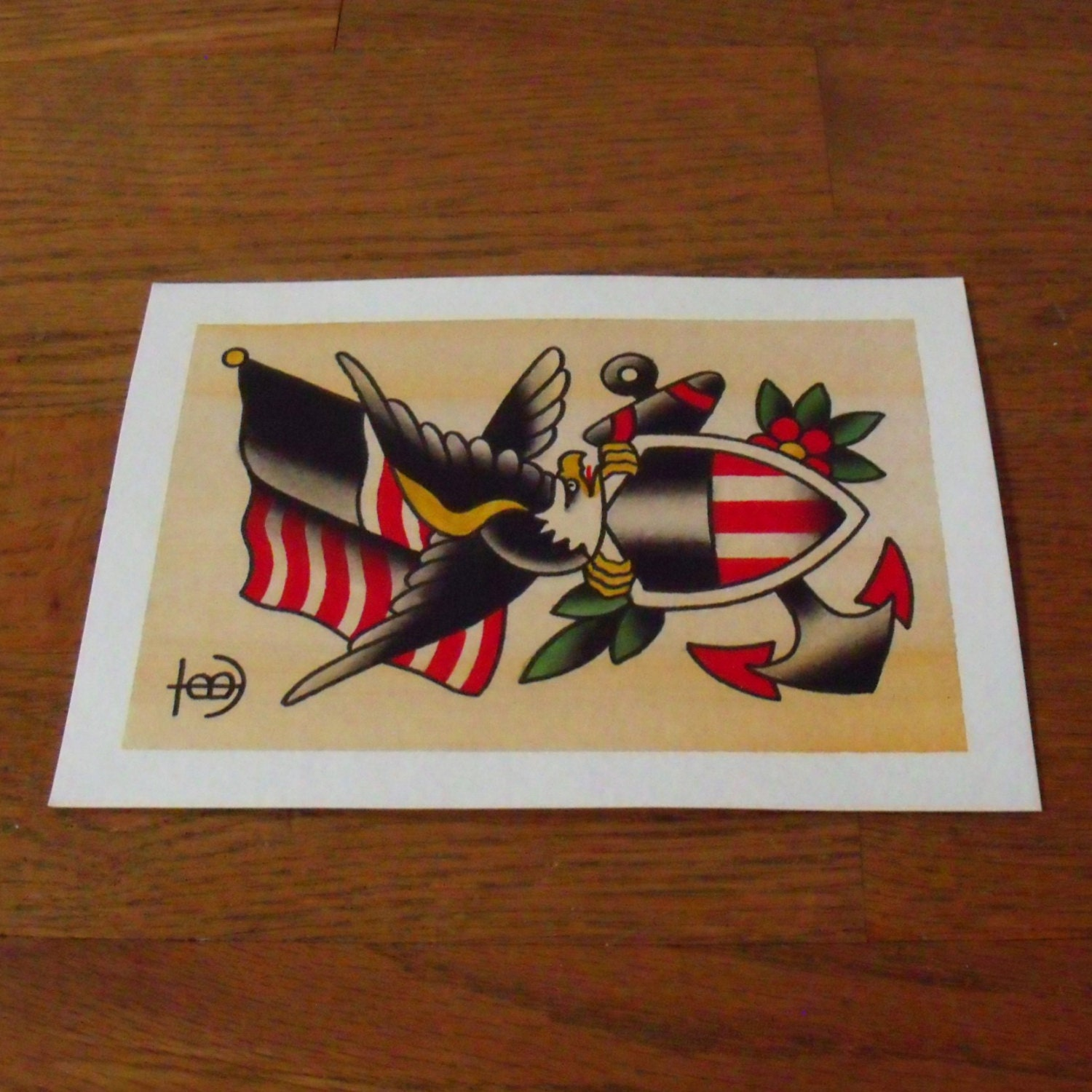 Eagle Flag Anchor Traditional Tattoo Flash Painting By