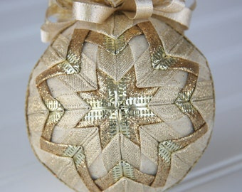 Quilted Christmas Ornament Ball/Gold and Cream - All That Glitters